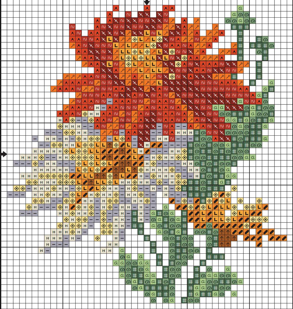 Схемы вышивки хризантем