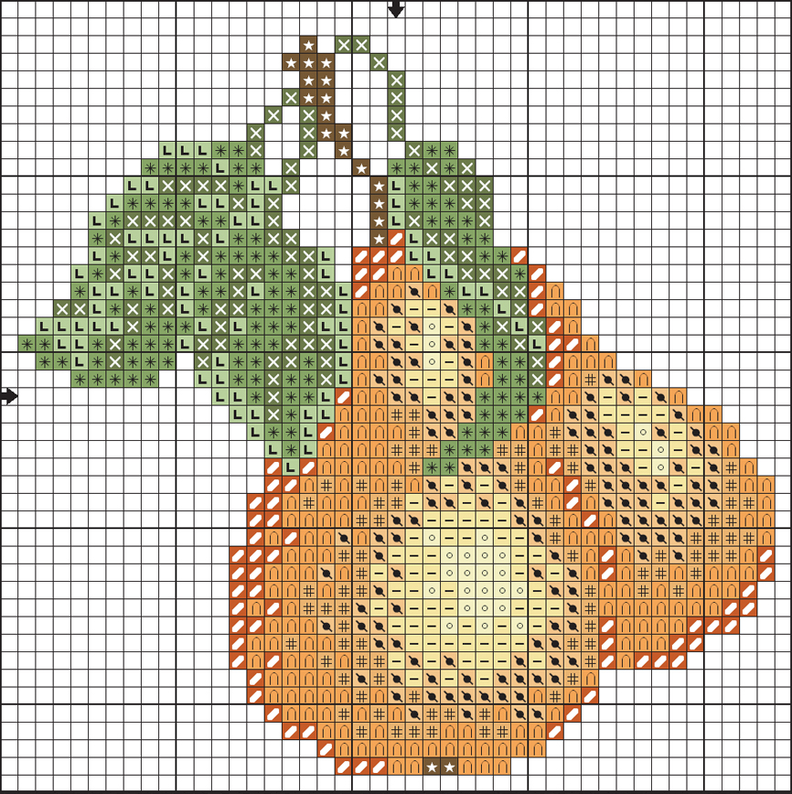 Схема вышивки груш